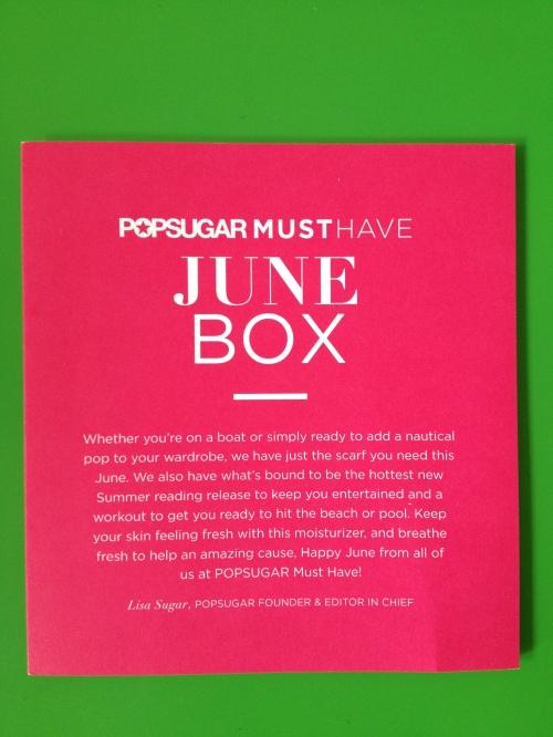 June 2013 pop sugar must have box